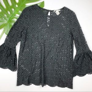H&M Black Lace Top Bell Sleeves S
